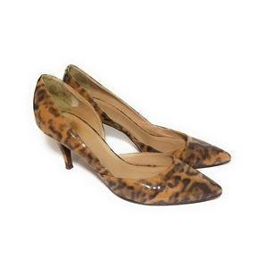 J CREW Cheetah Print Dorsay Leather Pumps Size 8.5
